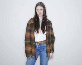 90s oversized wool plaid jacket lightweight wool button up size 12