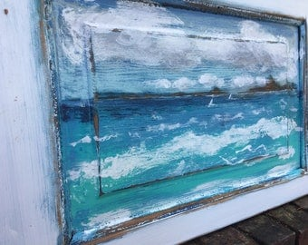 Original Sander Painting Seascape - The Drifters - Beach House Art Wall Decor Door Painting by CastawaysHall  - READY TO SHIP