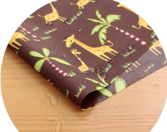 Wide Dual Waterproof Polyester Fabric By the yard  'Giraffes ' (width 59 inches) 90339