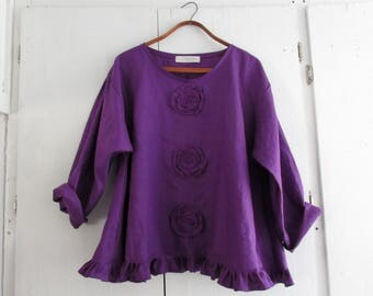 linen top Romance flare design in violet purple with roses ready to ship