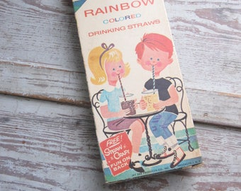 Vintage Straw Box and Straws