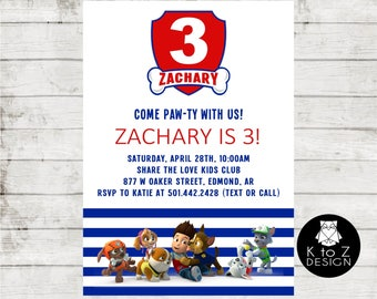 Puppy Party Invitation/ Paw Patrol Inspired Invitation/ Paw Patrol Invitation/ Printable Invitation / Printed Invitations