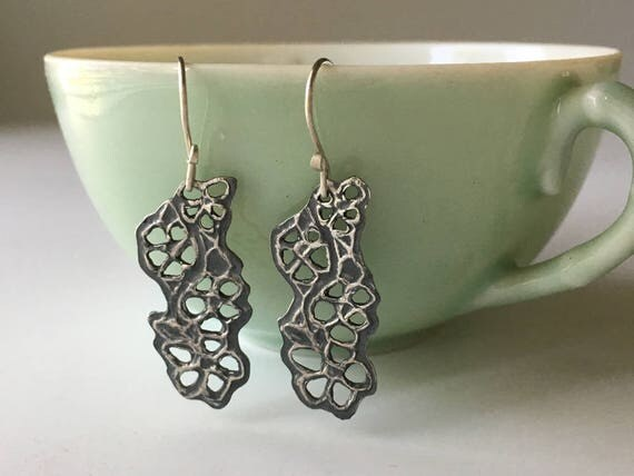 Silver Flower Earrings | Arts and Crafts Style | Floral Jewelry