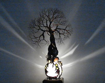Not For Sale, Wire metal Wind Tree sculpture, Contemplating Contentment, Quartz Sphere gemstone LED lamp, wood base, original art
