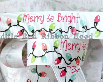 """Christmas on Grosgrain Ribbon 7/8"""" You choose color and style  Xmas Merry and Bright Build a Snowman"""