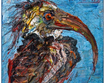SOLD - Oil Paint on Stretched Canvas of 12 by 12 by 3/4 in. / Original oil painting  vintage art abstract landscape bird outsider birds