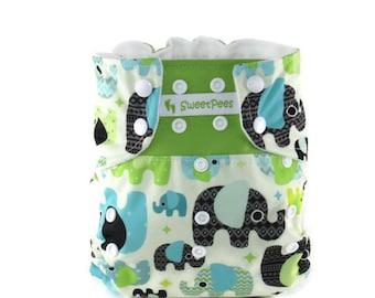Elephants SweetPees Cloth Diaper WFREE Large UltraTRIM Zorb II Prefold Soaker Insert Cloth Diaper Cover Baby Elephants Blue Green