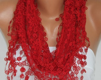 Red Lace Scarf,SummerScarf,Wedding Scarf,Women Scarves Cowl, Bridesmaid Gift For Her Women Fashion Accessories Christmas Gift