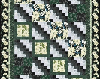 Christmas Pathways Quilt ePattern, 4672-10, twin quilt pattern, floral christmas quilt pattern