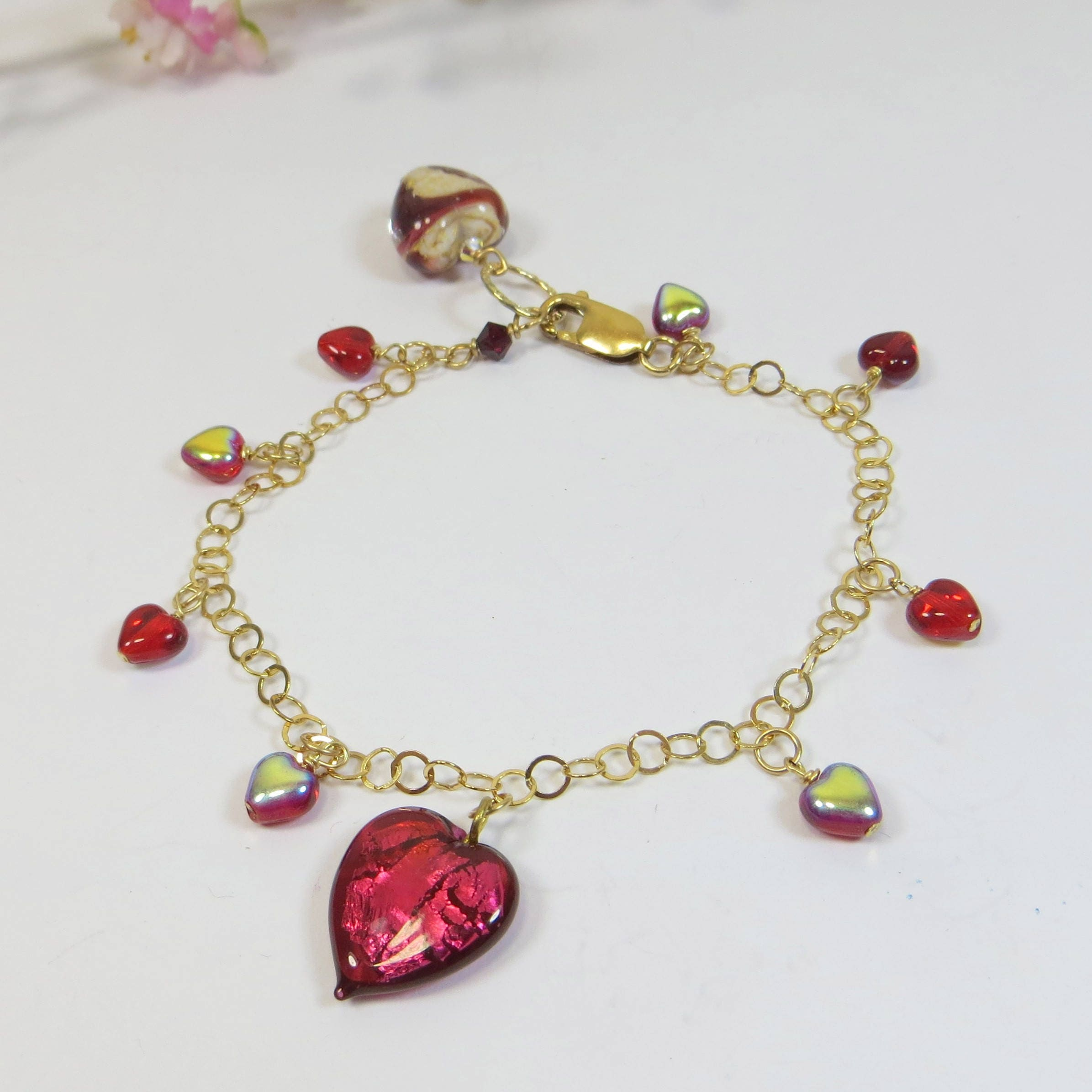 bracelet jewellery pink heart in trendy fashionable accessories memory treat tiny silver cookie