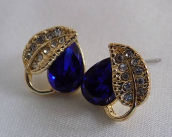 Vintage earrings, royal blue crystal and leaf stud earrings, elegant jewelry
