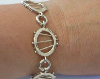 """Vintage bracelet,unique modernist sterling silver chain and link """"Asterworks Jewellery"""" bracelet"""