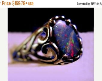 Summer time Sale Event Opal Triplet black blue red green orange fire Sterling Silver Ring unisex filigree scroll handmade half sizes 4 5 6 7