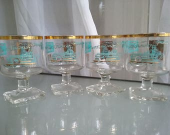 Gold Trimmed Libby Cocktail Glasses with Steamboat Theme, Vintage Barware, Odd, Unusual, Square Base Cocktail Glasses, Gold and Turquoise