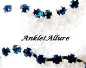 DOUBLE Anklet BLUE Rhinestone Ankle Bracelet Anklets for Women BLING Anklet