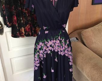 Vintage blue and violet cascading floral dress
