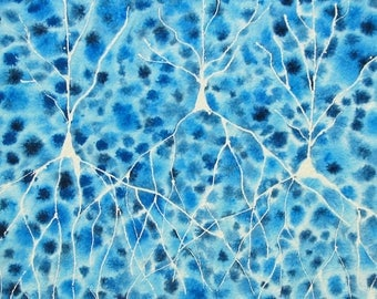 Blue Batik Pyramidal Neurons - original watercolor of brain cells