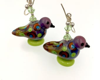Colorful Bird Earrings, Unique Animal Earrings, Glass Bead Jewelry, Lampwork Earrings, Lampwork Jewelry, Glass Bead Earrings, Drop Earrings