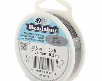 "Beadalon Beading Wire, Size Fine, .015"", bright stainless, 30'"