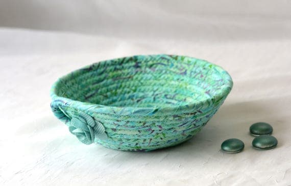 Turquoise Gift Basket, Handmade Ring Holder Basket, Cute Bath Basket, Cute Desk Accessory, Candy Bowl, Gorgeous Batik Key Tray,