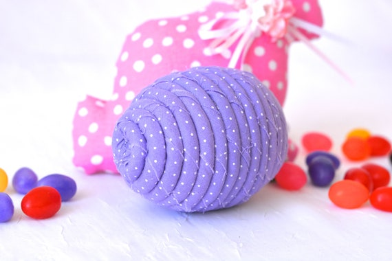 Lavender Easter Egg, Handmade Easter Decoration, Lilac Dot Easter Egg, Cute Easter Basket Filler, Easter Egg Hunt Egg