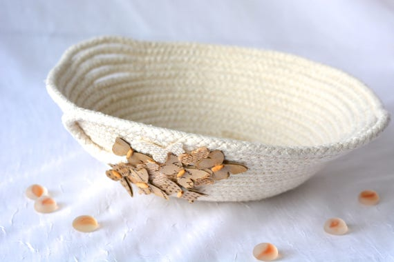 Cute Desk Accessory Bowl, Handmade Natural Cotton Basket, Modern Clothesline Basket, Lovely Ring Dish,  hand coiled natural rope basket