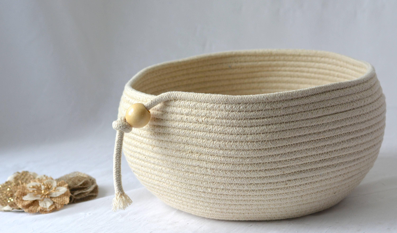 Handmade Rope Basket : Modern rope basket handmade beige bowl brush holder makeup