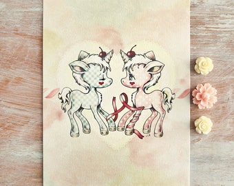 Cherry Candy Unicorn - Open edition art postcard - made to order