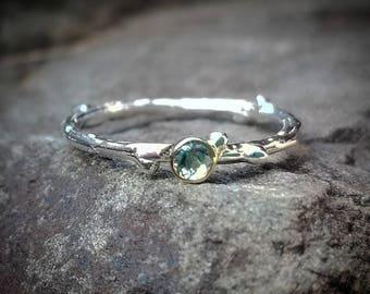 Natural Aquamarine Ring, Blue Aquamarine Rings, March Birthstone Ring, Womens Gift, Silver Twig Ring, Gold Aquamarine Birthstone Jewelry,
