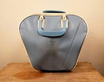 Vintage Bowling Bag 1960s Blue and White Retro Vinyl Bag Fake Leather Retro Carry All with Hard Plastic Handles Retro Gym Bag