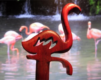 Hair Stick - Flamingo in Padauk Wood