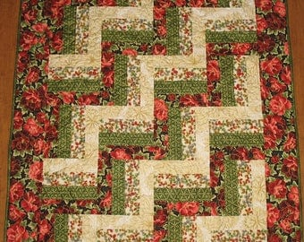Floral Lap Quilt, Throw,  small quilt, quilted, handmade quilt, fabric  Robert Kaufman