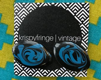 Free Shipping!: 1960's Eccentric Black and Blue Marbled Studs