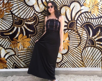 Vintage 1990's Lace Maxi Dress With Spaghetti Straps