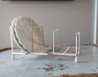 Vintage Pink Colored Dish Strainer Drainer Rack