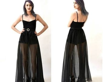 SALE 80s 90s Vintage Black Sheer Skirt Size Small // Black Long Skirt Sheer Ball Gown With Rhinestone Belt Size XS Small