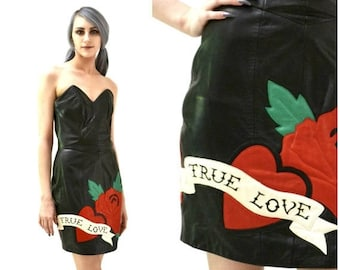 SALE Vintage Black Leather Dress with True Love Heart by Michael Hoban North Beach// 90s Vintage Black Strapless Leather Dress XS Small Tatt