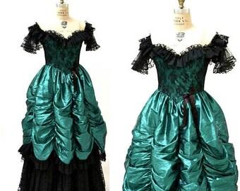 SALE Vintage 80s Prom Dress XXS XS Metallic Green Black// 80s Metallic Party Dress Green Black Lace Southern Bell Pageant Loralie
