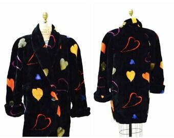 Vintage Black Faux Fur Jacket Coat with Hearts 90s pop art Rainbow Hearts Vintage Donny Brook Black with Hearts Coat