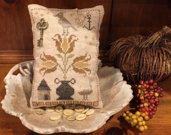 Prim Pyn Pillow Pinkeep, Pincushion, Cupboard Pillow, Primitive Tulip Design, Cross Stitch ~ FREE U.S. SHIPPING