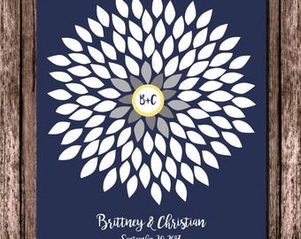 Wedding Guest Book, Flower Guestbook, Unique Wedding Guestbook, Bridal Shower Guest Book, Navy Wedding, Dahlia, 16x20 100 Signature