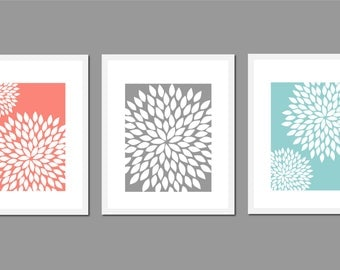 Bathroom Wall Decor, Dahlia, Floral Wall Art, Bedroom Wall Art, Teal and Coral Decor, Coral Bathroom Decor, Gray and White Wall Art