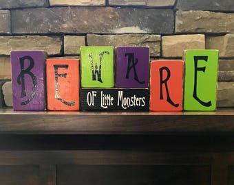 Halloween blocks-Beware of little monsters(paint)