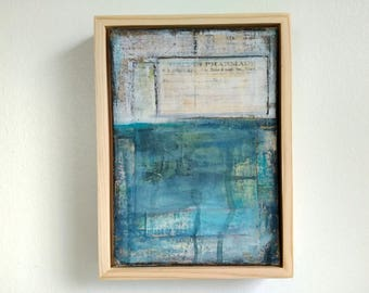"""Abstract Painting, 5x7"""" framed Abstract Art, Abstract Seascape, Impressionist Art, Mixed Media Painting, Deep Blue Painting """"Atlantic"""""""