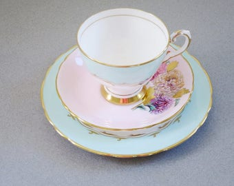 Vintage Tea Cup Trio Mix and Match, Vintage Teacup and Saucer Set, Pastel Pink and Aqua Cups and Saucers, Decor, Gifts, Display