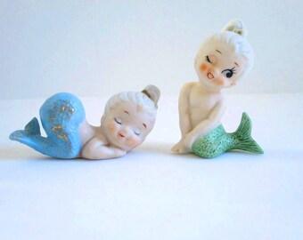 Vintage Mermaid Figurines c. 1950s, Seaside Beach Decor, Pixie Mermaids
