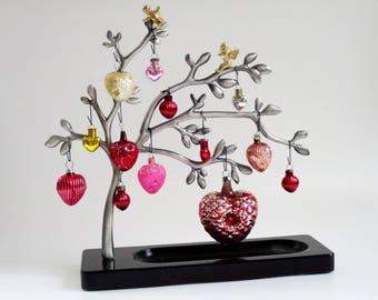 Miniature Glass Heart Ornaments, Set of 7 Mini Hearts, Glass Hearts, Heart Decorations, Heart Ornaments, Vintage Hearts, Valentine Hearts