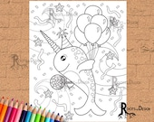INSTANT DOWNLOAD Coloring Page - Party Narwhal Print, doodle art, printable