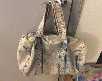 Cotton denim duffel bag soft strong Med size/greenish blue/Secure zipper no flaws