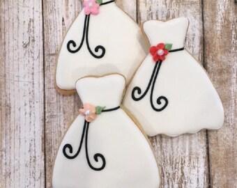 Bridal Shower Favors, Wedding Dress Cookie Favor - 1 dozen